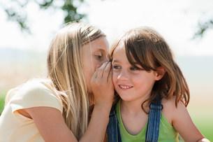 Girl whispering to firiendの写真素材 [FYI03478277]