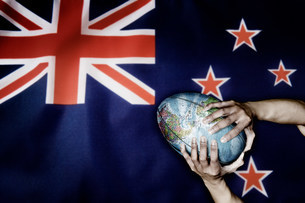 New Zealand flag and world rugby ballの写真素材 [FYI03479044]