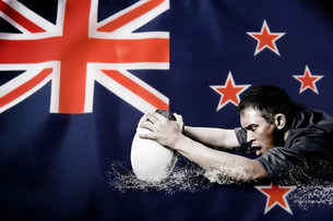 New Zealand flag and rugby playerの写真素材 [FYI03479046]