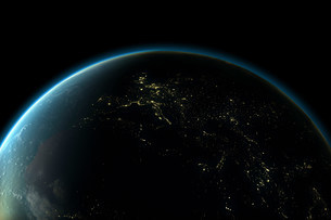Planet earth with lights of Europe at nightの写真素材 [FYI03479966]