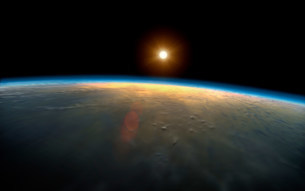 Sunrise over planet earthの写真素材 [FYI03479972]
