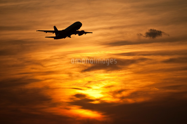 Airplane in in evening skyの写真素材 [FYI03480381]