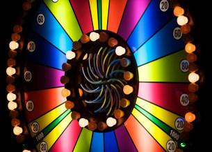 Brightly colored casino wheelの写真素材 [FYI03480393]