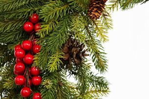 Christmas wreath, studio shotの写真素材 [FYI03481416]