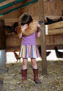 Girl holding hen in hen houseの写真素材 [FYI03481739]