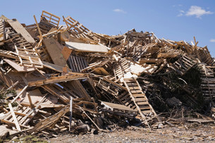 Pile of discarded wood at waste management siteの写真素材 [FYI03483613]
