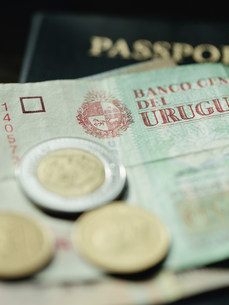 Close up of Uruguayan currencyの写真素材 [FYI03484645]
