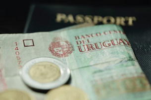 Close up of Uruguayan currencyの写真素材 [FYI03484647]