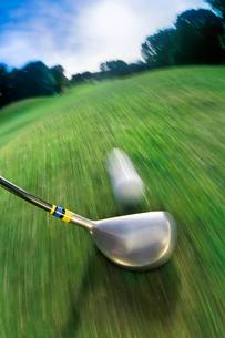 Golf club hitting ball on golf courseの写真素材 [FYI03487070]