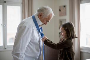 granddaughter helping grandfatherの写真素材 [FYI03488751]