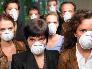 Group of people wearing protection masksの写真素材 [FYI03489355]