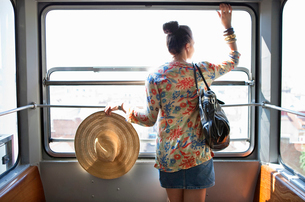 Woman travelling in funicular trainの写真素材 [FYI03492667]