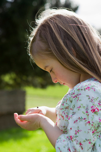 Girl examining insect on hand outdoorsの写真素材 [FYI03497299]