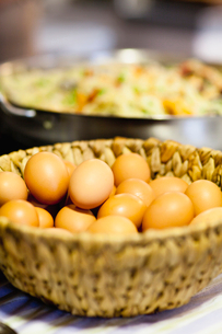 Eggs and seafood paellaの写真素材 [FYI03497384]