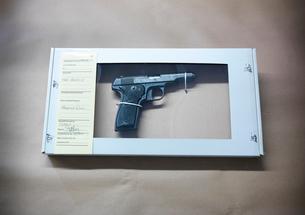 Gun in forensic biohazard boxの写真素材 [FYI03498627]