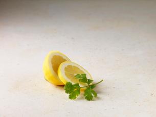 Sliced lemon and corianderの写真素材 [FYI03498704]