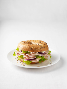 Ham and onion bagel on plateの写真素材 [FYI03498732]