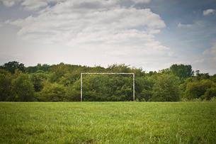 Soccer goal on grassy pitchの写真素材 [FYI03498811]