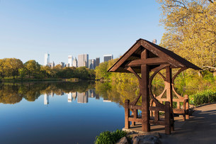 Pagoda on lake, Central Park, New York City, USAの写真素材 [FYI03501392]