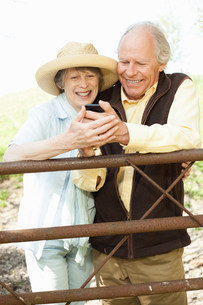 Senior couple smiling at message on mobile phoneの写真素材 [FYI03501895]