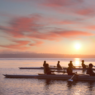Seven people rowing at sunsetの写真素材 [FYI03502803]