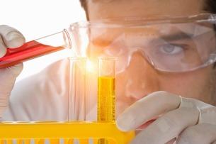 Close up of scientist pouring liquid into test tubeの写真素材 [FYI03506264]