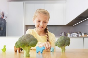 Girl playing with toy animals around broccoliの写真素材 [FYI03506372]