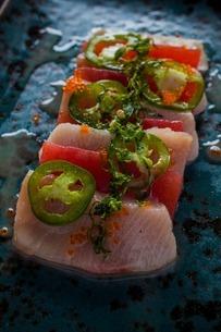 Hawaiian dish with green chilli and garnishの写真素材 [FYI03506872]