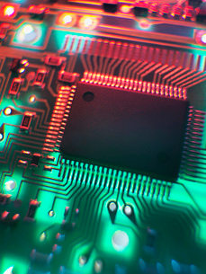 Printed Circuit Board. The central processing unit interprets and executes software instructionsの写真素材 [FYI03508114]