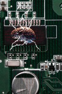 Studio shot of brain connected to data technologyの写真素材 [FYI03508763]