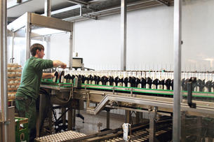 Brewery worker operating bottling machineの写真素材 [FYI03509065]