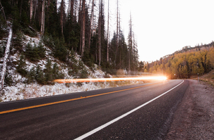 Flash of light along Highway 31 aka Energy Loop scenic byway, Fairview, Utahの写真素材 [FYI03509182]
