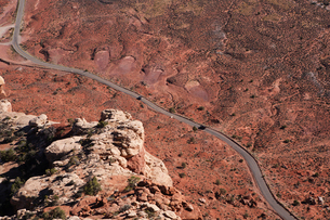 Aerial view of Highway 261 in southern Utah (near Mexican Hat)の写真素材 [FYI03509186]