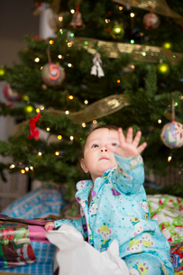Baby girl reaching up, christmas tree in backgroundの写真素材 [FYI03510481]