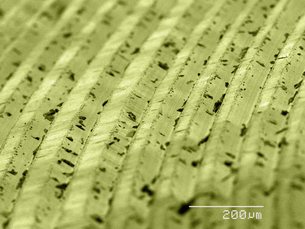 Coloured SEM of grooves on vinyl recordの写真素材 [FYI03511880]