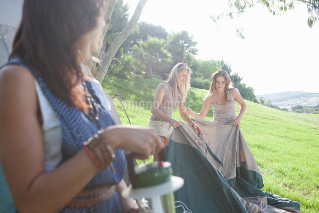 Three young female friends preparing tent for campingの写真素材 [FYI03511914]