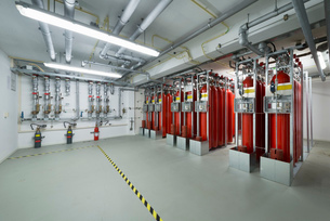 Fire extinguisher system, data storage in data warehouseの写真素材 [FYI03512379]