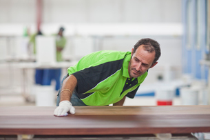 Carpenter checking quality of wood in workshopの写真素材 [FYI03512838]