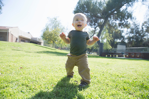 Baby boy learning to walk on grassの写真素材 [FYI03512938]
