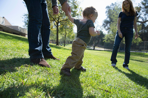 Baby boy learning to walk on grassの写真素材 [FYI03512942]