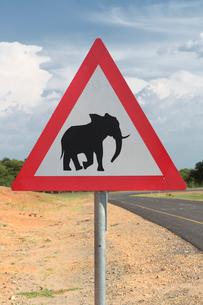 Elephant warning sign, Kasane, Chobe National Park, Botswana, Africaの写真素材 [FYI03513669]