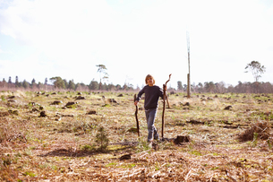 Boy carrying sticks in a plantation clearingの写真素材 [FYI03513798]