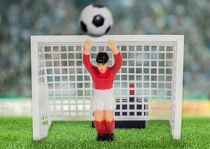 Digitally generated image of soccer goalkeeper in stadiumの写真素材 [FYI03515261]