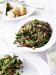Still life of festive tabouleh, fresh saladの写真素材 [FYI03515702]