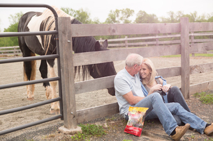 Mature couple sitting against fence and a curious horseの写真素材 [FYI03516456]