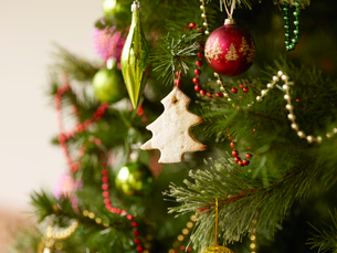 Close up of christmas tree with baubles and christmas biscuitsの写真素材 [FYI03517237]