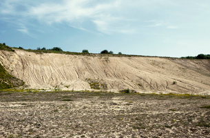 Abandoned quarry with eroded hillside wasteの写真素材 [FYI03517931]