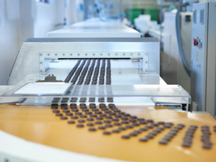 Chocolates on production line in chocolate factoryの写真素材 [FYI03520412]