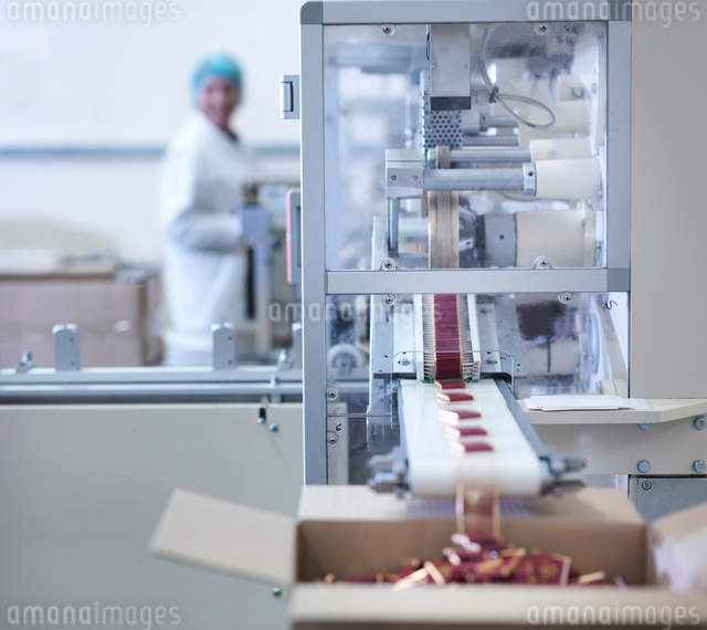Worker inspecting wrapped chocolates on production line in chocolate factoryの写真素材 [FYI03520418]