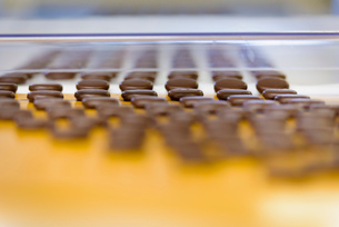 Chocolates on production line in chocolate factoryの写真素材 [FYI03520431]